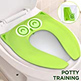 Firares Upgrade Folding Large Non Slip Silicone Pads Travel Portable Reusable Toilet Potty Training Seat Covers Liners with Carry Bag for Babies, Toddlers and Kids, Green