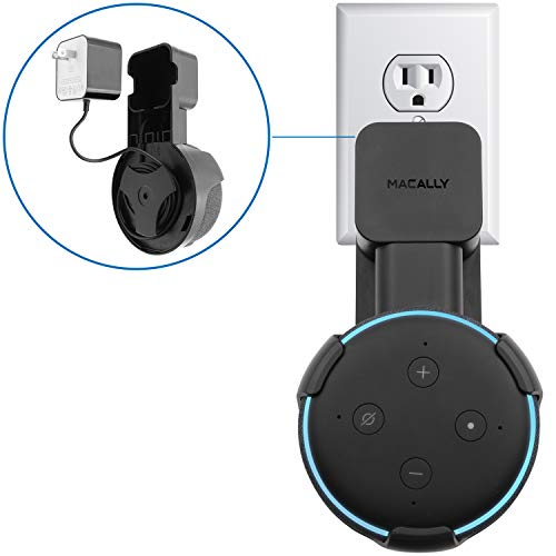 Macally Outlet Echo Dot Wall Mount Holder for Amazon Alexa 3rd Gen Speaker | Compact Bracket Stand Saves Home & Kitchen Counter Space | Plug In Hanger Accessories without Messy Wires or Screws - Black