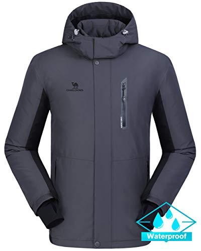 CAMEL CROWN Ski Jacket Men Waterproof Warm Cotton Winter Snow Coat Mountain Snowboard Windbreaker Hooded Raincoat Grey XXL