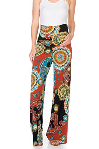 My Bump Women's Maternity Casual Bohemian Damask Palazzo Pants W/Tummy Control (Small, Rust/Blk MD)