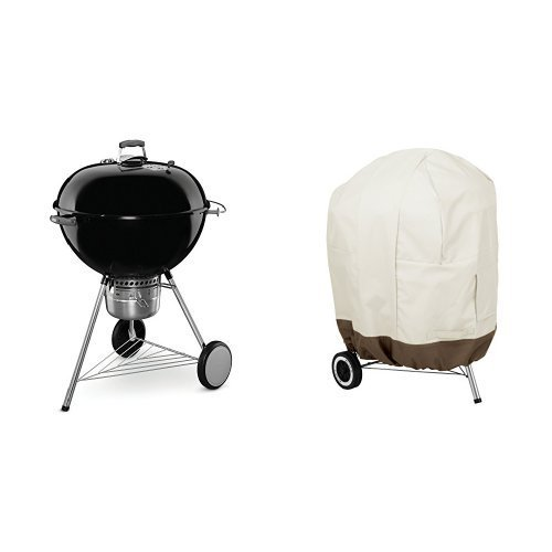 Weber 16401001 Original Kettle Premium Charcoal Grill, 26-Inch, Black & AmazonBasics Kettle Grill Cover by Weber