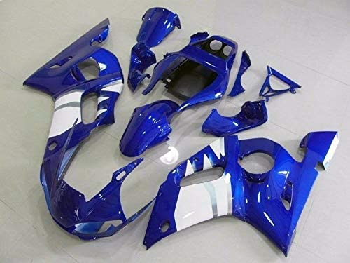 FocusAtOne Blue with White Complete Fairing Bodywork Aftermarket Painted ABS Plastic Injection Molding Kit for 1998-2002 98-02 Yamaha R600 YZF-R6 R6 1999 2000 2001