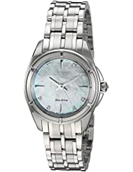 Citizen Womens Signature Quartz Stainless Steel Dress Watch, Color:Silver-Toned (Model: EM0350-58D)