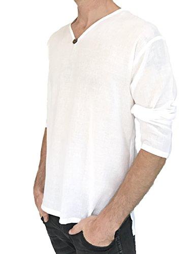 Men's T-Shirt 100% Cotton Hippie Shirt Beach Yoga Top Feature Button (Large, White) by Love Quality (Image #3)