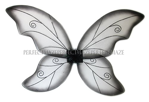 Black Butterfly Costumes (Perfectmaze Glitter Fairy Butterfly Pixie Dance Wings, Large (34-Inch-by-24-Inch), Black)