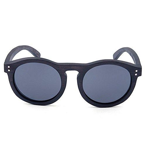 sol a de protección Remache vacaciones pesca hombres gafas de alta de madera polarizada calidad decoración de gafas de redondas UV mano Retro los de Negro hechas conducción de sol aire lente de playa la al HxPSBP