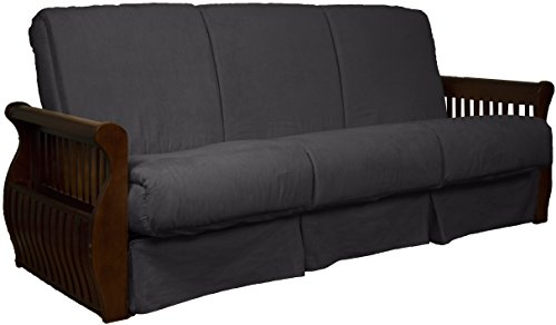 (Laguna Perfect Sit & Sleep Pocketed Coil Inner Spring Pillow Top Sofa Sleeper Bed, Queen-size, Walnut Arm Finish, Microfiber Suede Slate Grey Upholstery)