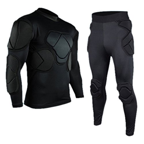 - Set Of 2 Long Sleeve and Long Pants Goalkeeper Clothes Elbow Pads Helmet Kneecaps
