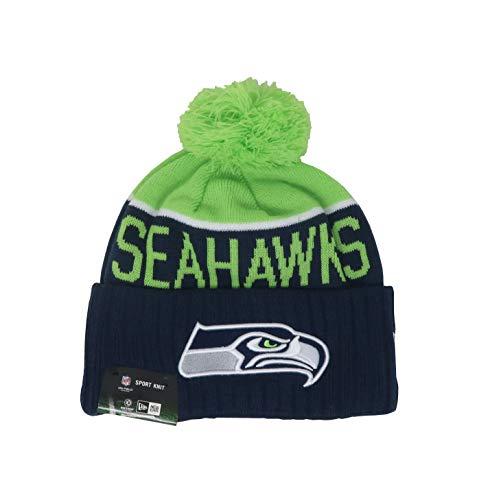 New Era Seattle Seahawks 2015 Sport Knit Cuffed Pom Knit Cap/Beanie (Winter Seahawks Womens Hat)