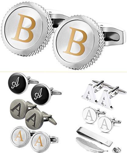 GGemony Cufflinks for Men Classic Engraved Initial Cufflinks Alphabet Letter Cufflinks Formal Business Wedding Shirts Gift Box A-Z B-1Pt/