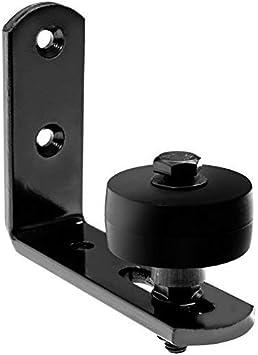 Negro Soporte de pared Granero puerta suelo guía estancia rodillo para puerta corredera: Amazon.es: Bricolaje y herramientas