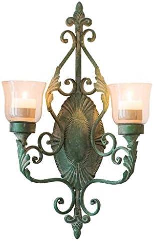 ZWJ-キャンドルスタンド 燭台は、古いヴィンテージ錬鉄の装飾的な壁ランプ食料品ガーデンコートヤード壁掛け燭台を実行します。
