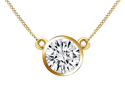 (AFFY 1/4 Ct Natural Diamond Bezel Set Solitaire Pendant Necklace In 14K Solid Yellow Gold)