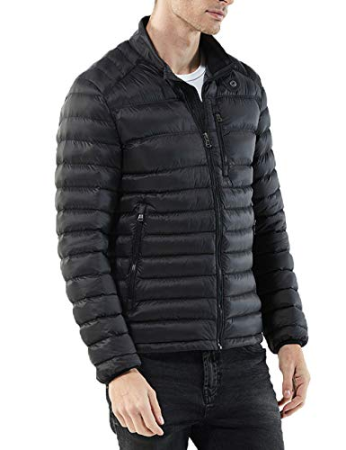 Zipper Winter Casual Lightweight Water Black Jackets Mens Resistant Quilted Coats Warm Coat Outerwear BESBOMIG gwTZqpq