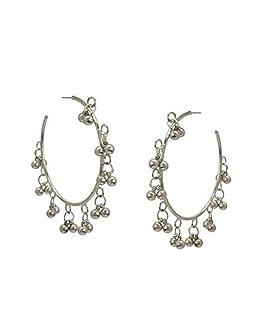 Zephyrr Ethnic Hoop Earrings Silver Tone Beaded Party Wear Jewelry For Women
