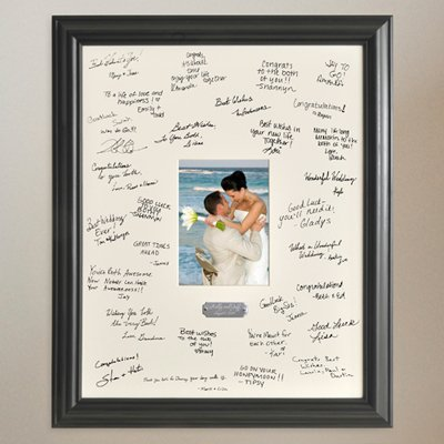 Personalized Gift - Wedding Wishes Signature Guest Book Picture Photo/Photograph Frame - With Engraved Brushed Silver Plate