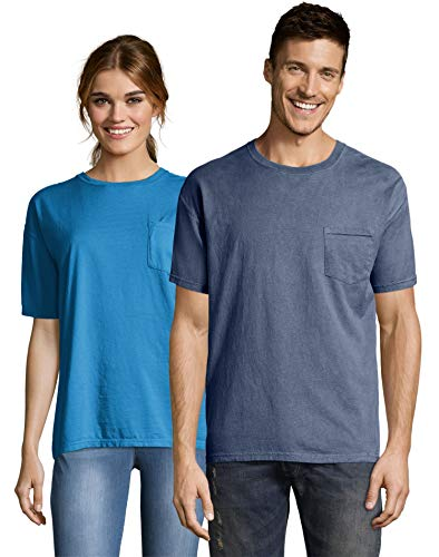 (Hanes ComfortWash Garment Dyed Short Sleeve T-Shirt with a Pocket - GDH150-3XL - Saltwater)