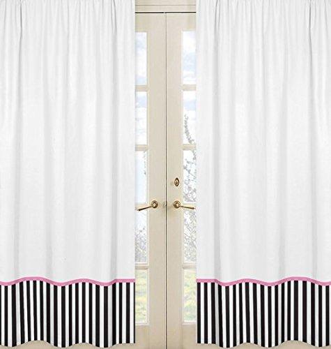 Sweet Jojo Designs 2-Piece Pink, Black and White Stripe Paris Window Treatment Panels