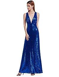 Women's Sexy Long Deep V-Neck Sequin Evening Dress 07109