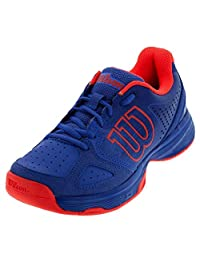 WILSON KAOS Junior Kids Tennis Shoe - Amparo Blue and Fiery Red Coral