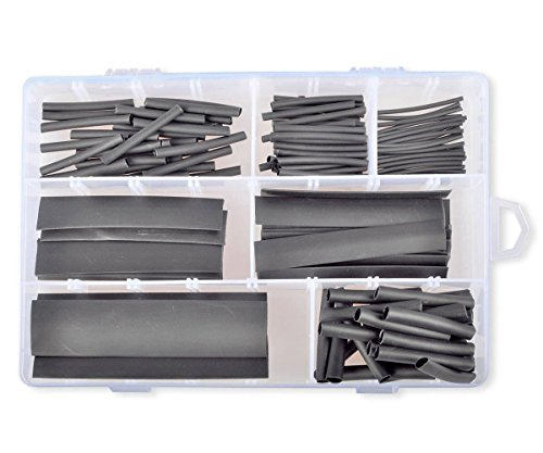 Conshine 2:1 Heat Shrink Tubing Wrap Sleeves Assorted Sizes - 124pcs Black (Pvc Shrink 100 Tubing Gauge)