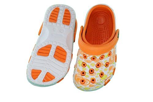Enfants Sabots Chausson Jeune Fille Chaussures Pantolette avec semelle antidérapant, Orange/Blanc, 26 EU