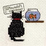 Mouseloft Mini Cross Stitch Kit - Cat and Goldfish, Stitchlets Collection