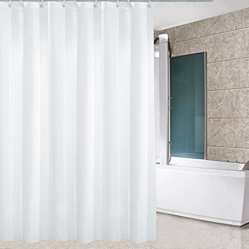 (Eforcurtain Extra Wide 78 Inch By 72 Inch Modern Fashion Hotel Shower Curtain, Waterproof and Mildew Resistant Bathroom Curtain Fabric, Pure White)