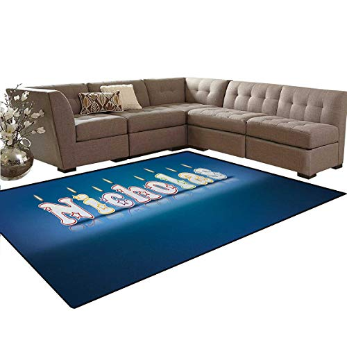 Nicholas,Rug,Surprise Party for The Birthday Boy Child`s Name with Burning Candles,Oriental Floor and Carpets,Blue and Multicolor,6'6