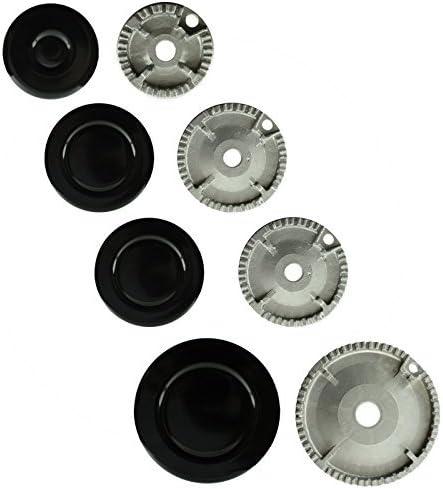Spares2go Hornillo Gas Quemador Crown & Tapa De La Llama Kit para Ariston Horno Cocina (Pequeño, Mediano x2, Grande)