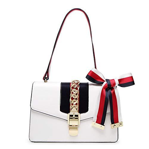 Hope Small Sac à bandoulière en cuir pour femme en satin avec noeud Deux sacs à bandoulière, rose-25 * 9 16cm Blanc
