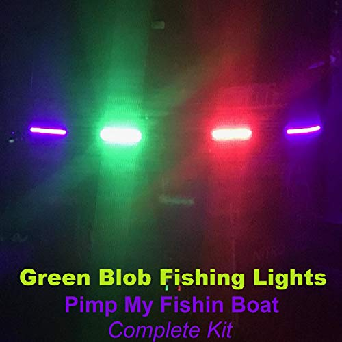 Pimp My Fishin Boat kit LED Extremely Powerful Ultra Violet UV Black Light Strips for Bass Boat Rub Rails,Pontoon, Night Fishing with Bonus Red & Green Navigation Lights (Best Rated Bass Boats)