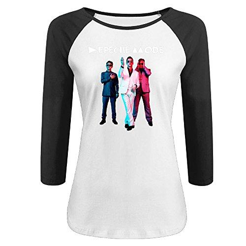 Women's Depeche Mode 100% Cotton 3/4 Sleeve Athletic Raglan Sleeves T-Shirt Black US Size L ()