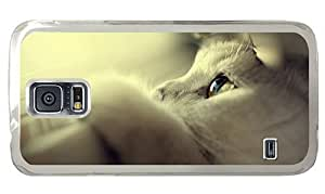 Hipster Samsung Galaxy S5 Case glitter covers cute white cat PC Transparent for Samsung S5