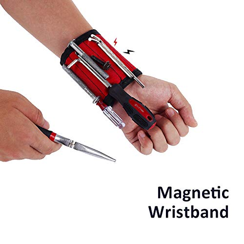 zhuohong Magnetic Tool Cuff Wrist Band Tool Holder Belt for Holding Tools Screws Nails Bolts Drill Bits Men Women