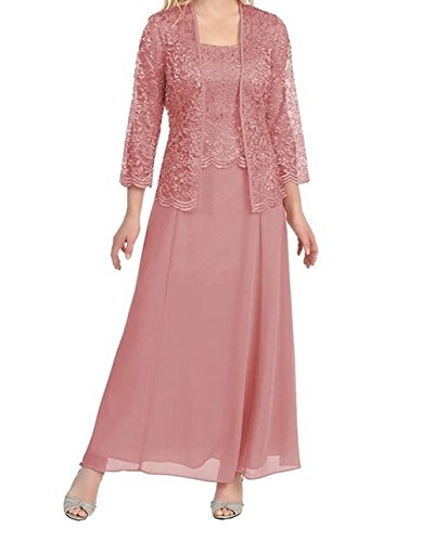 FNKS CRAFT Chiffon Mother Of The Bride Dresses With Lace Jacket Wedding Party Evening Dress Dusty Rose US10