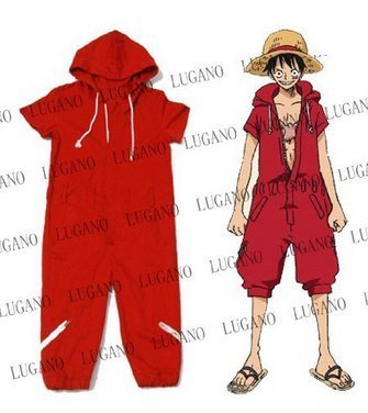 (Cosplay Costume ONE PIECE One Piece Monkey D Luffy , Monkey D Luffy coverall costume size L )
