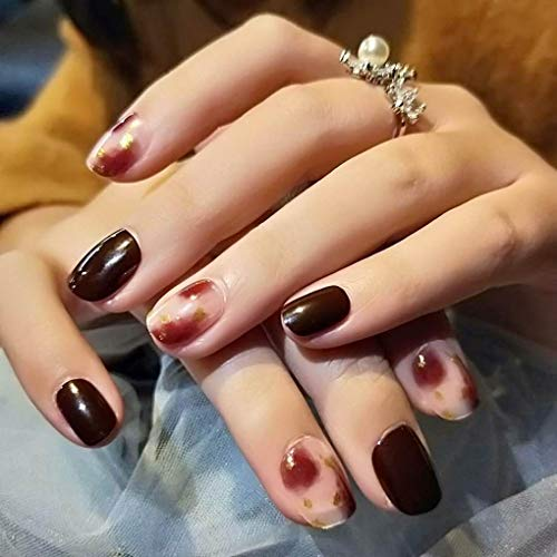 Easy Do It Yourself Halloween Nail Art (Tgirls 24Pcs Square False Nails Full Cover Short Fake Nails Nude Blend French Art Party Nail for Women and)