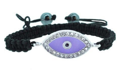 Rhinestone Beads Inlaid Evil Eye Draw String Macrame Bracelet (Lilac)
