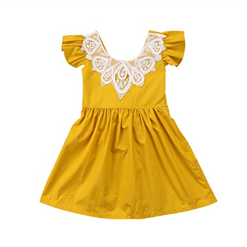 Infant Toddler Flower Girl Romper Lace Collar Cotton Ruffle Sleeve Baby Girls Spring Dresses (6-12 Months, Yellow)