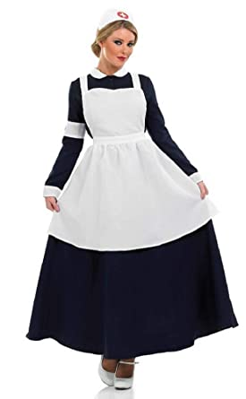 5e68e74d7752f Ladies WW1 WW2 Old Victorian Nurse Florence Nightingale Fancy Dress Costume  Outfit UK 8-26