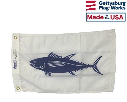 (12x18 Tuna Boat Fishing Flag,Durable All-Weather Nylon with Grommets for Outdoors, Made in USA)