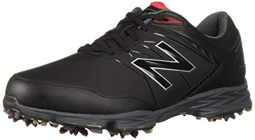 New Balance Men's Striker Waterproof Spiked Comfort Golf Shoe, Black/red, 8 2E 2E US