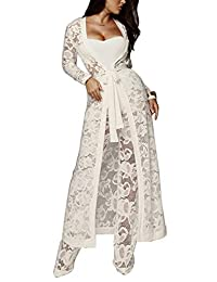 Sopliagon Womens 3Pcs Cocktail Suits Lace Maxi Open Front Cardigan Wide Leg Pants
