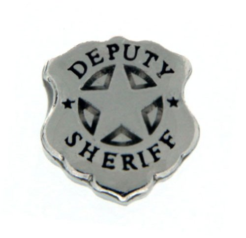 Deputy Sheriff Badge Floating Locket Charm (Sheriffs Badge Charm)