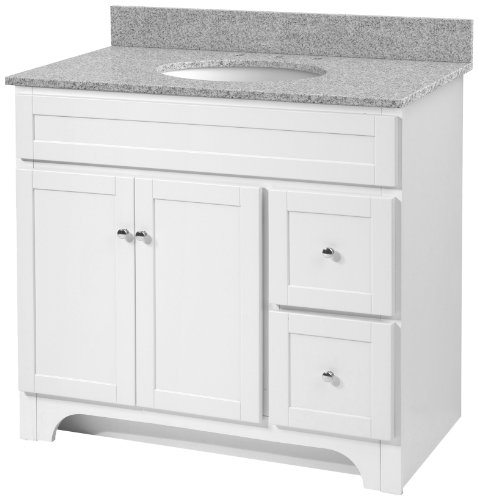 amazoncom foremost worthington 36inch espresso bathroom vanity with meteorite gray granite top and white vitreous china sink home