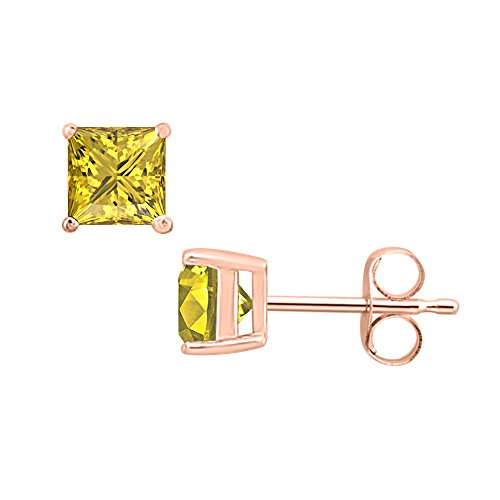 Gold & Diamonds Jewellery 1.90 CT Princess Cut Yellow Sapphire (4MM) Solitaire Stud Earrings 14K Rose Gold Over .925 Sterling Silver