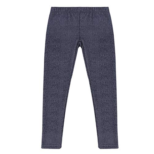 HDE Girls Fleece Winter Knit Leggings Kids Nordic Stretch Pants Footless Tights Denim X-Small   4 5