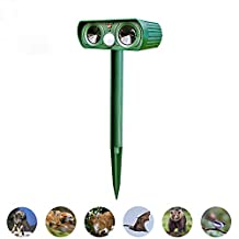 Solar Powered Ultrasonic Animal Repeller Outdoor Pest Control - Electronic Dog Deterrent, Mouse Repellent, Squirrel Trap, Bird Deterrent - Motion Activated (1 Pack)