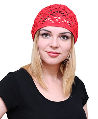 NFB Cotton Hats for Women Ladies Summer Beanie Lace Cloche Hair Accessories Cap (Red)